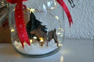 Origami rendier plus kerstboom