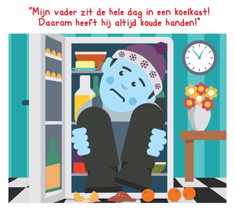 Illustratie van vader die in de koelkast zit en het koud heeft.