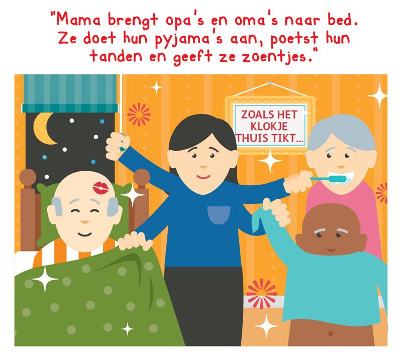 Illustratie van een moeder die opa's en oma's naar bed brengt en tanden poetst en zoentjes geeft