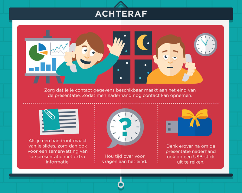 Infographic met tips voor na de presentatie