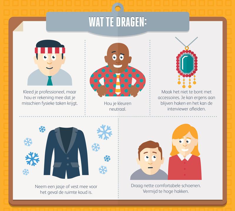 Infographics uitsnede over wat te dragen tijdens een assessment
