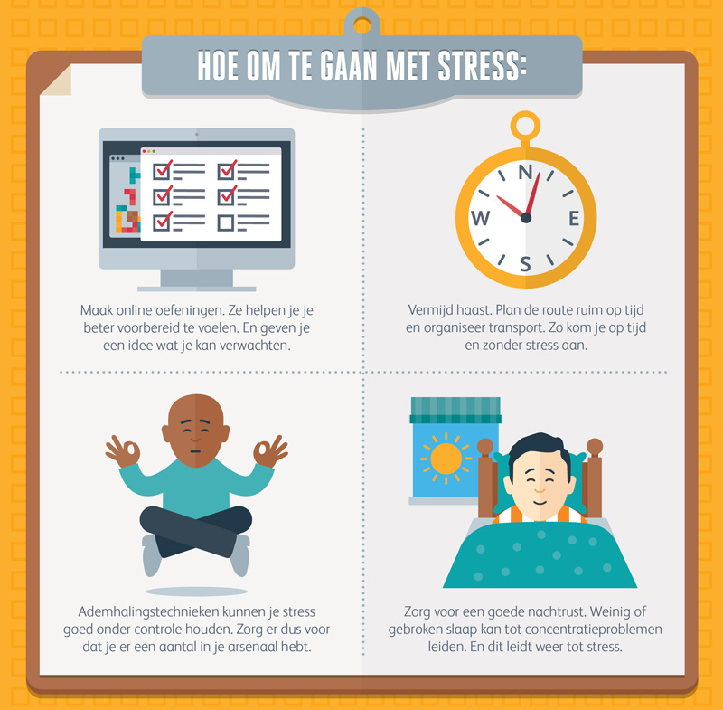Hoe ga je om met stress voor je assessment dag? Onze infographic laat het zien.