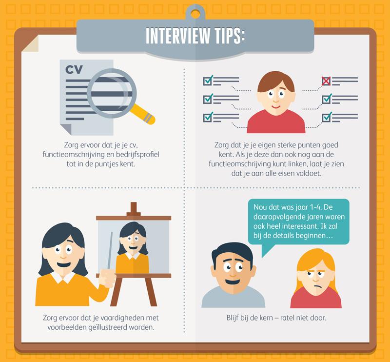 Een graphic met interviewtips voor het assessment.