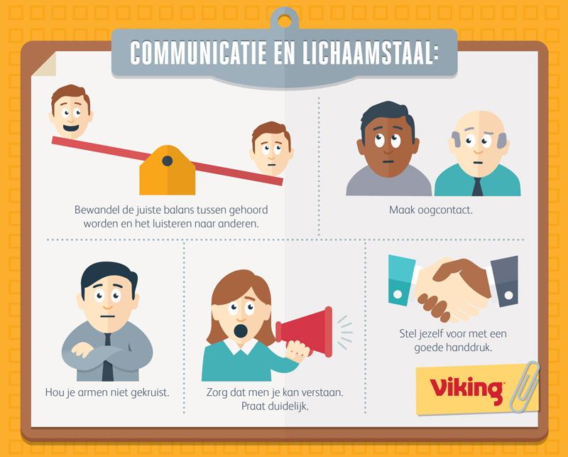Graphic die  tips geeft op gebied van communicatie en lichaamstaal tijdens een assessmentdag.