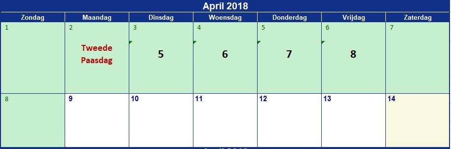 April begin 16 dagen