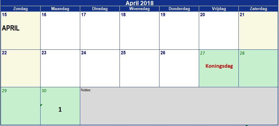 April end 25 dagen