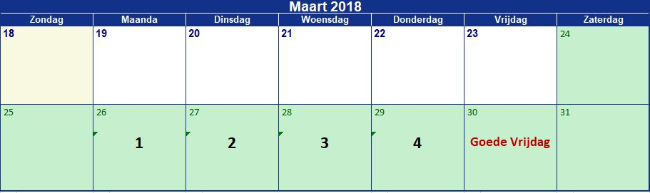 Maart 16 dagen vrij